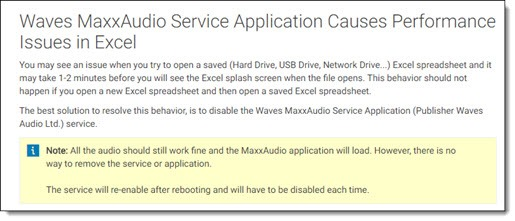 Waves MaxxAudio causes Excel issues