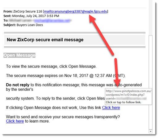 Security - phony Zixcorp message