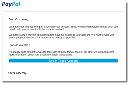 Security - phony Paypal message