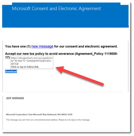Security - phony Microsoft message