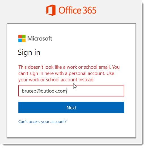 Office 365 sign-in error