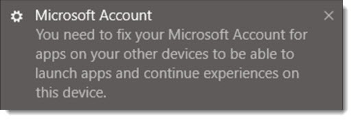 Fix your account - Windows 10 Shared Experiences