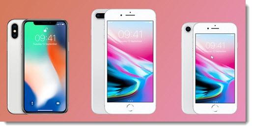 Apple iPhone X, iPhone 8, iPhone 8 Plus