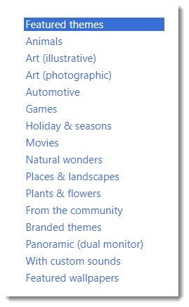 Windows themes - category list