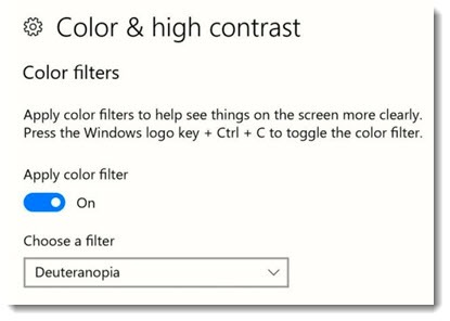 Windows 10 color & high contrast color blindness setting