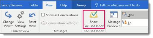 Outlook - show Focused Inbox