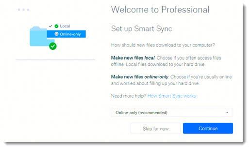 Dropbox Smart Sync setup