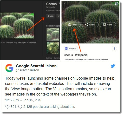 Google announces removal of View Image button