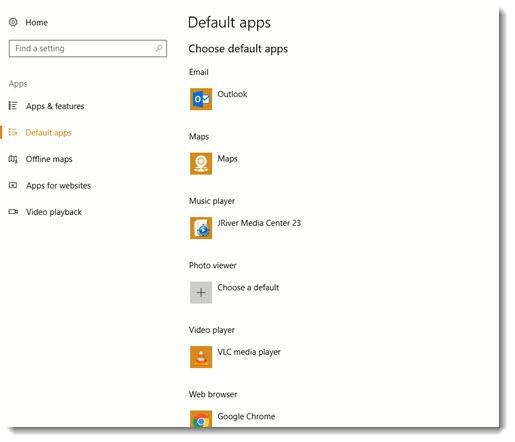 Windows 10 default settings