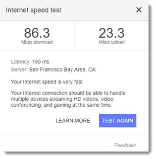 Internet speed test - Google