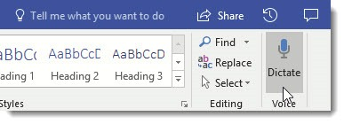 Office 365 - Word dictate