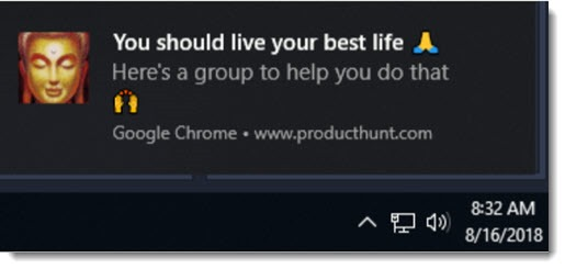 Chrome notification - ad example