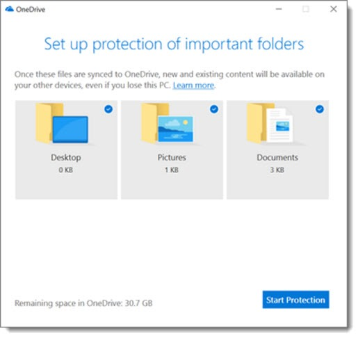 OneDrive folder protection