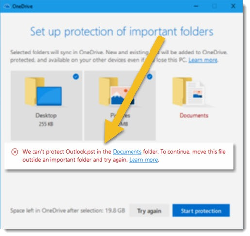 OneDrive folder protection - Outlook .PST error