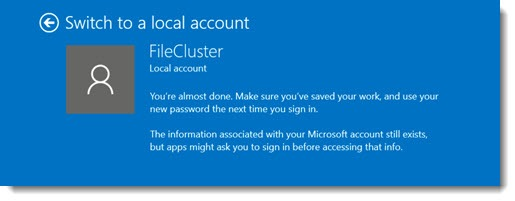Windows 10 - switch to local account