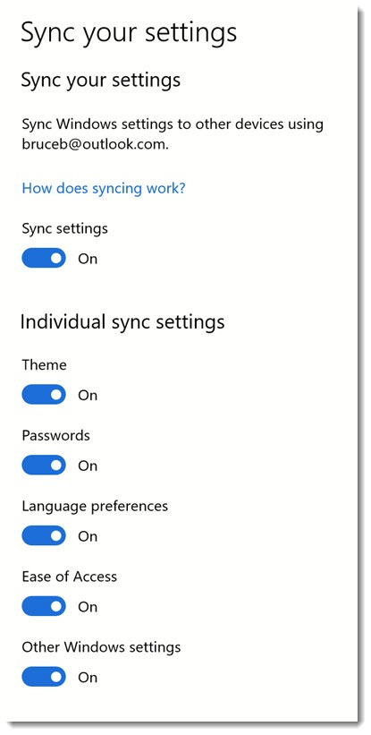 Windows 10 sync settings