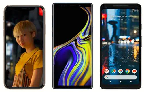 Apple iPhone X, Samsung Note 9, Google Pixel 3