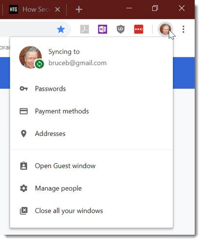 Chrome account menu includes access to passwords