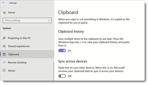 Windows 10 clipboard history - settings