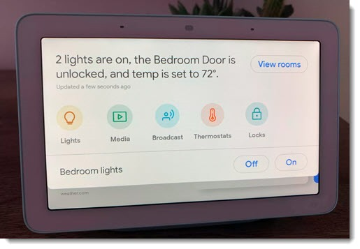 Google Home Hub - smart home device controls
