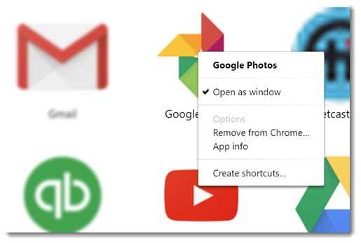 Chrome apps - open shortcut as window
