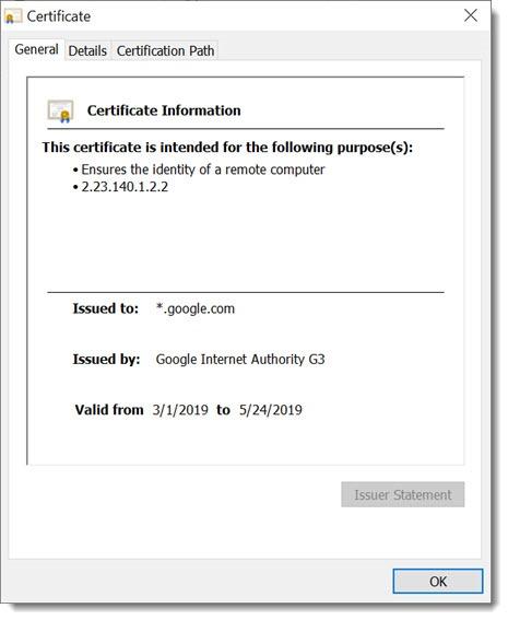 Chrome security certificate info - example Google.com