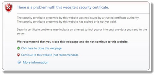 Chrome warning of invalid security certificate