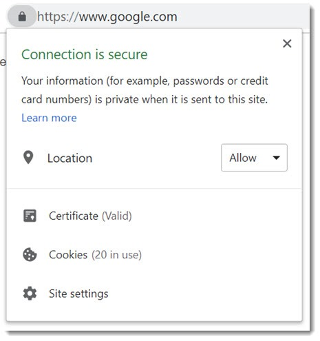Chrome security information about website