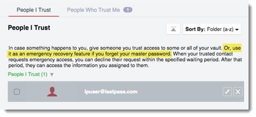 LastPass emergency access