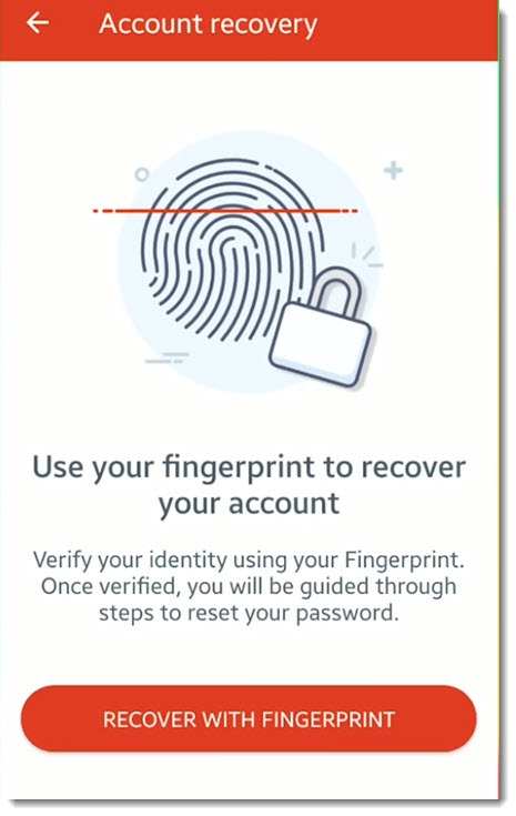 LastPass - mobile account recovery - reset with fingerprint or Face ID