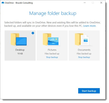 OneDrive for Business - folder backup