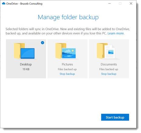 OneDrive for Business - folder backup