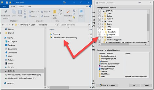 OneDrive folder missing from indexing options on F: drive