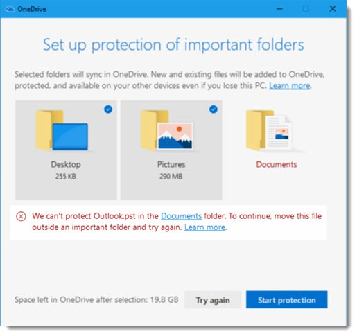 OneDrive folder backup error