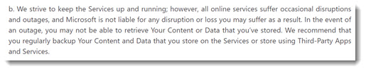 Office 365 - Microsoft terms of service recommend third party backups