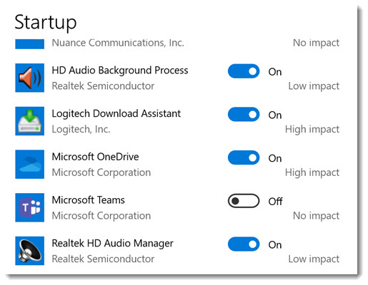 Microsoft Teams - turn off autostart in Windows 10 Settings