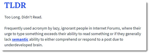 TL;DR Too long. Didn't read. Definition.