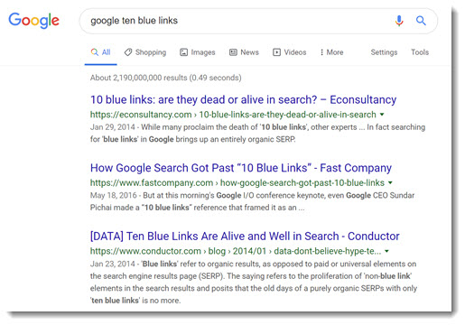 Google - all search results were ten blue links