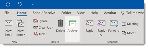 Outlook archive button