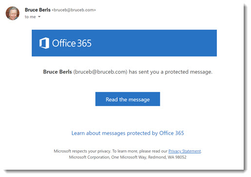 Office 365 message encryption - link sent by email to third party email recipient