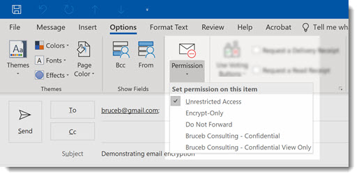 Outlook message encryption - Options / Permission