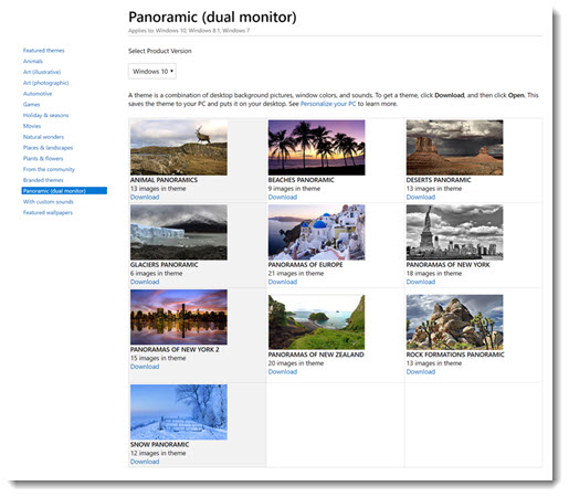 Panoramic Windows themes from Microsoft