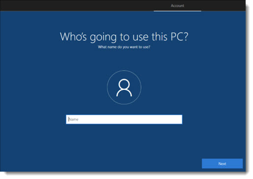Windows 10 setup - finally the local account setup screen!