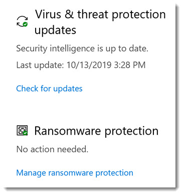 Windows 10 Security - ransomware protection