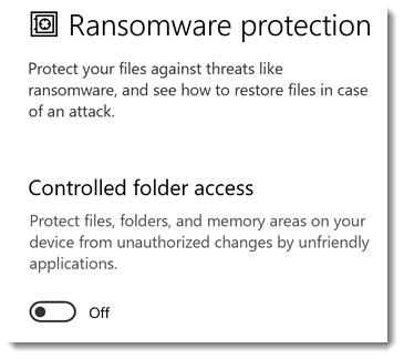 Windows Security ransomware protection - turned off by default
