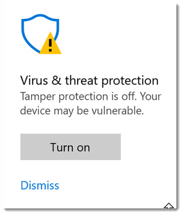 Windows 10 Security - tamper protection