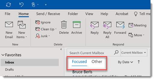 Outlook focused inbox column heading