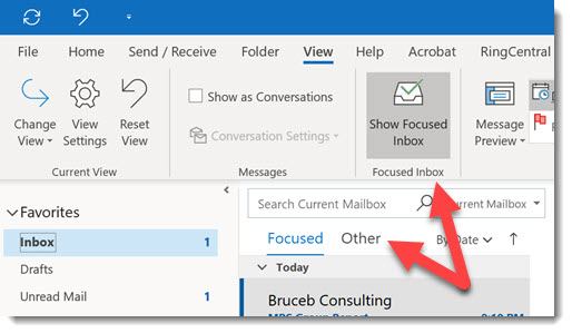 Outlook - focused inbox on ribbon and above message list