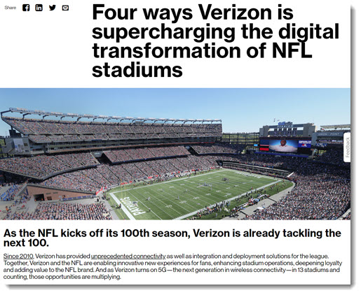 Verizon announces 5G coverage for 13 football stadiums