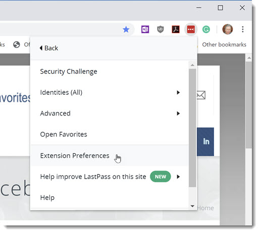 LastPass - Chrome extension settings menu / Extension Preferences